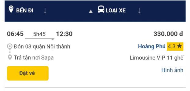 Giờ xe Hoàng Phú Hà nội Sapa chuyến 6h45 sáng