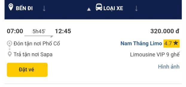 Giờ xe limousine Nam Thắng Hà nội Sapa chuyến 7h sáng