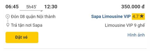 Giờ xe Sapa Limousine VIP Hà nội Sapa chuyến 6h45 sáng