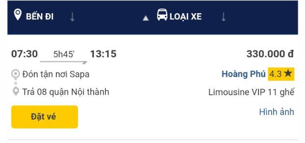 Giờ xe Hoàng Phú Sapa - Hà nội chuyến 7h30 sáng
