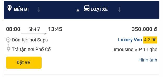 Giờ xe Sapa Luxury Van Sapa Hà nội chuyến 8h00 sáng