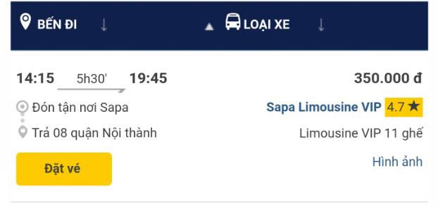 Giờ xe Sapa Limousine VIP Sapa - Hà nội chuyến 14h15 chiều