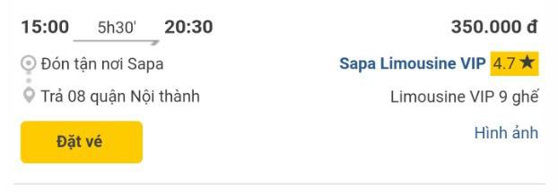 Giờ xe Sapa Limousine VIP Sapa - Hà nội chuyến 15h00 chiều